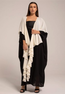Two-Toned Georgette Frill Layered Abaya