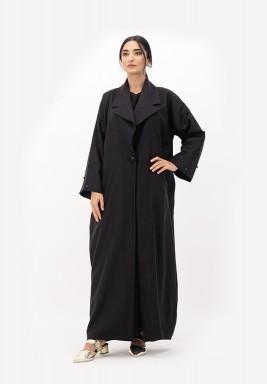 Black Linen Abaya with Embellished on Sleeves