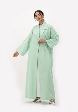 Green Linen Abaya with Embellished on Sleeves