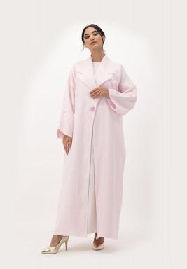Pink Linen Abaya with Embellished on Sleeves