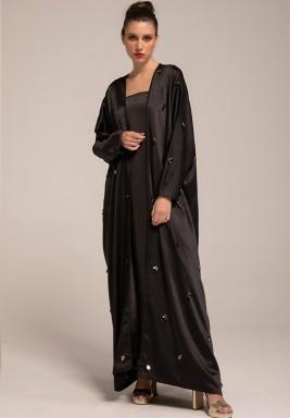 Black Silk Crepe Embellished Leaves Abaya