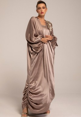 Greige Silk Crepe Bisht with One Embellished  Shoulder