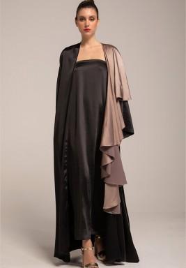 Two-Toned Silk Crepe Frill Abaya
