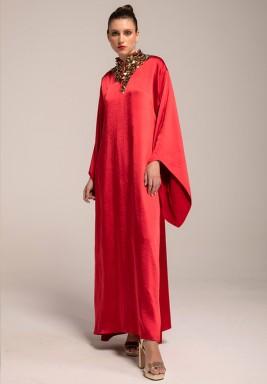 Red Silk Crepe Beaded Neck Kaftan