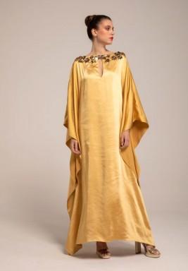 Sahara Sun Golden Embellished Neck Kaftan