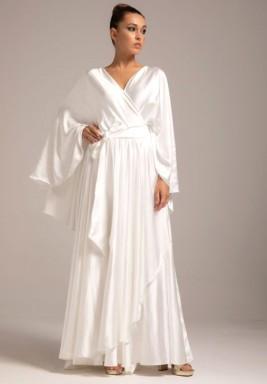White Silk Crepe Fairy Sleeves Kaftan