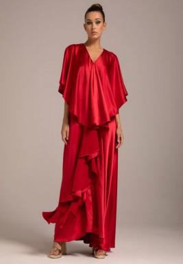 Red Silk Crepe Frill Collar Kaftan