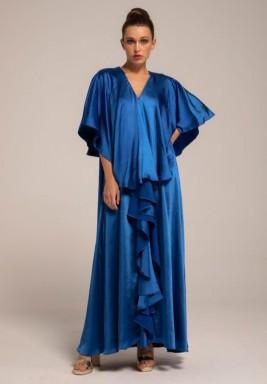 Blue Silk Crepe Frill Collar Kaftan
