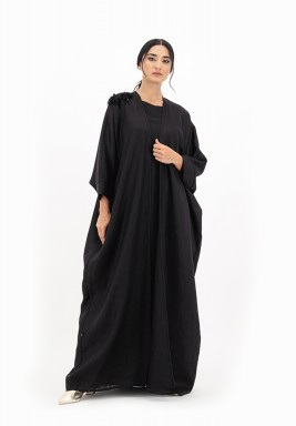Mariposa linen Abaya with 3D Embroidery on one Shoulder