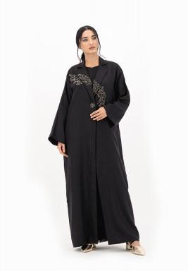 Black Linen Abaya with Crawling Embellishment
