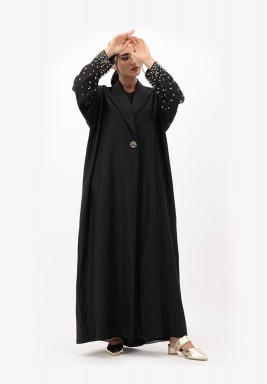 Black & Gold Embroidery Linen Abaya with 3D Embellished on Sleeves