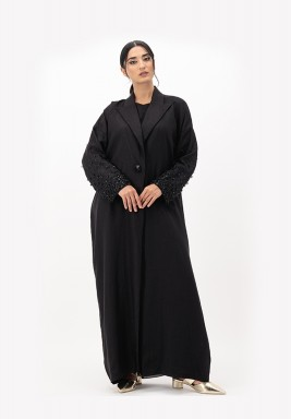 Black Embroidery Linen Abaya with 3D Embellished on Sleeves