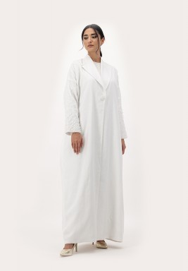 White Embroidery Linen Abaya with 3D Embellished on Sleeves