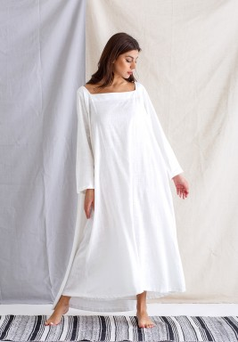 Pearl White Dress with Back Cape