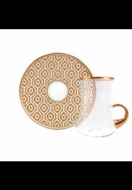 Koleksiyon Tea Cup / Istikana with Rose Gold Porcelain Saucer, 6 Pieces Set - Print 22