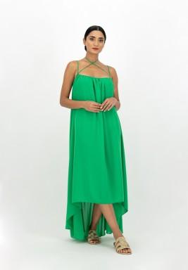 Cross Strap Flowy Gathered Backless Georgette Dress