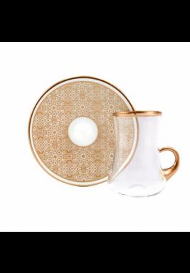 Koleksiyon Tea Cup / Istikana with Rose Gold Porcelain Saucer, 6 Pieces Set - Print 23