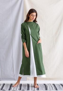 White Kaftan with Green Jacket Set