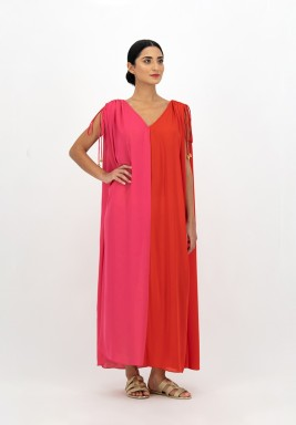 Georgette Dress with Two-toned Colors with Draw String Gathered Shoulder