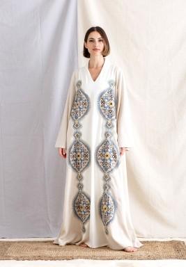 Off-White Embroidered Maxi Kaftan