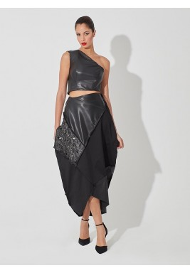 Black One Shoulder Top & Skirt Set