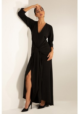 Black Belted Slit Maxi Dress