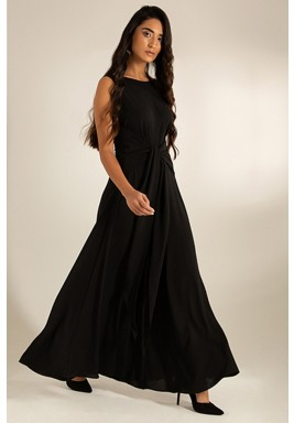 Black Crepe Wide-Legged V-Back Jumpsuit
