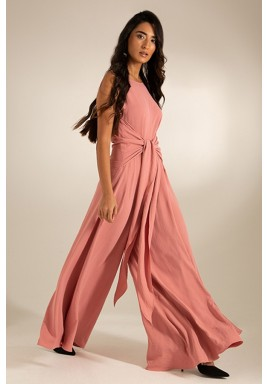 Pink Crepe Wide-Legged V-Back Jumpsuit