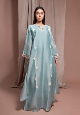 Baby Blue Hand Embroidered Kaftan