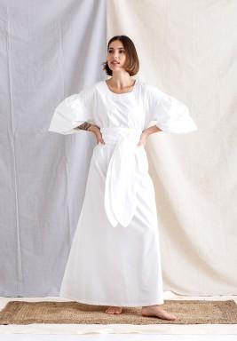 White Puff Sleeves Belted Kaftan