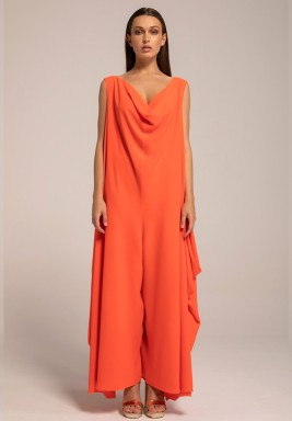 Orange Cowl Neck Side Drapes Jumpsuit