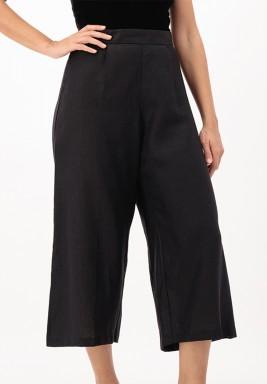 Black Cropped linen Wide-legged Pants