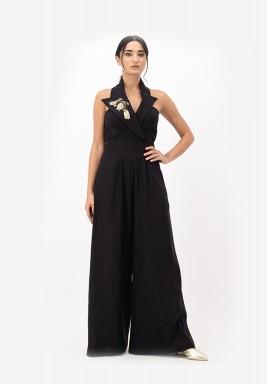 Black Linen Blazer with 3D Embellished Collar wide-legged Jumpsuit