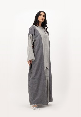 Grpahite Long Collar Two-toned Cotton Abaya with Folded Cuff