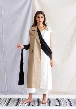 Trench Vest with Belt and white Sleeveless Dress