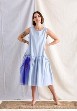 Baby Blue Sleeveless Kaftan
