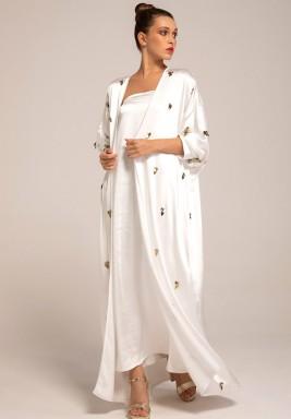 White Silk Crepe Embellished Leaves Abaya