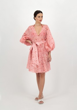 Red Printed leaves voile cover up with Puff Sleeves