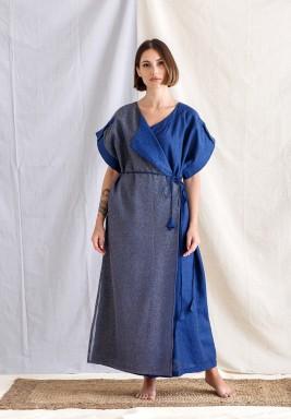 Silver & Blue Side Tie Dress