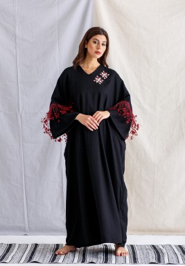 Black and Red Feathers Kaftan