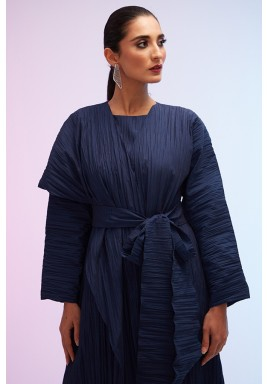 Blue Pleated Belted Cardigan