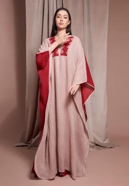 Maroon & Red Linen Kaftan