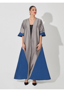 Silver & Blue Raw Silk Abaya