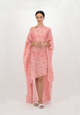 Red Voile Printed leaves Asymmetric Beach Cover up