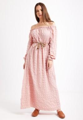 Blush Off Shoulder Maxi Dress