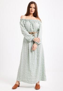 Green Off Shoulder Maxi Dress