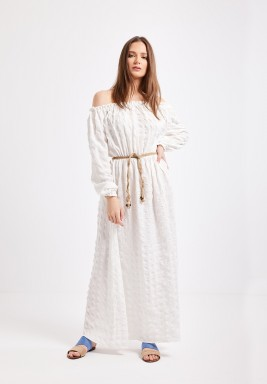 White Off Shoulder Shirred Maxi Dress