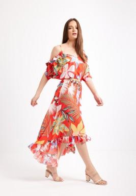 Red Tropical Print Dress