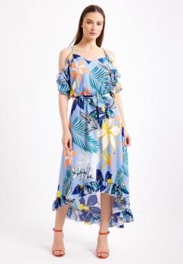 Blue Tropical Print Dress