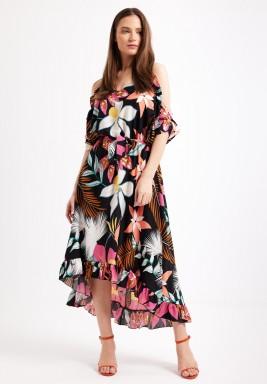 Black Tropical Print Dress
